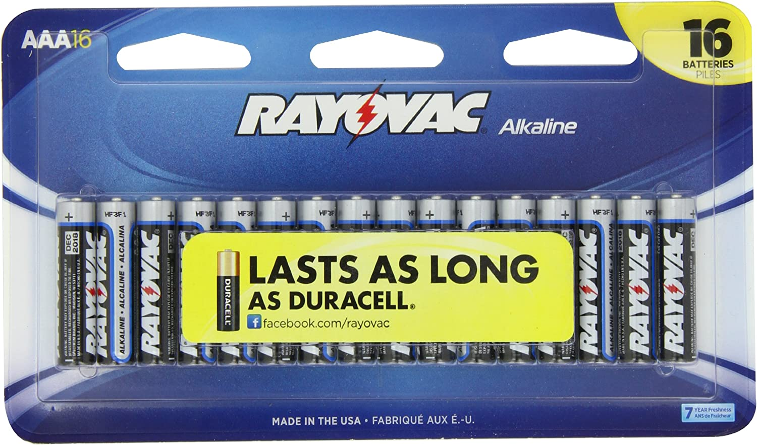 Rayovac Alkaline AAA 70% OFF Outlet 16-Pack Batteries