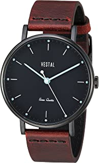 Vestal Sophisticate Leather Stainless Steel Swiss-Quartz Watch with Italian Strap, Brown, 20 (Model: SP42L07.CVBK)