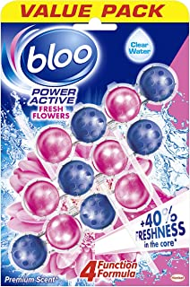 Bloo Power Active Toilet Rim Block Fresh Flowers with Anti-Limescale, Cleaning Foam, Dirt Protection and Extra Freshness -...