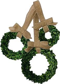 Flora Decor Preserved Boxwood Wreath Set with Burlap Bows - 3pc