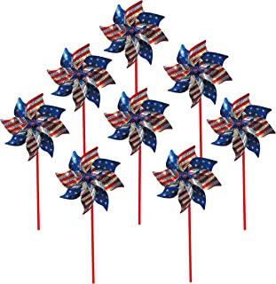 In the Breeze 2749 Stars and Stripes Pinwheel, 8-Inch, Stars & Stripes / 8 Pieces