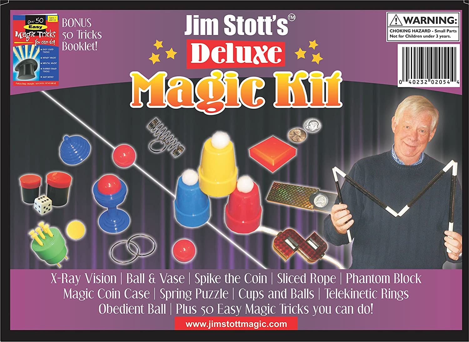Jim Stott's 'Deluxe Magic Kit' Magic Set For Kids Boys and Girls Of All Ages Featuring Cups and Balls Ball and Vase Spiked Coin Penny to Dime Instructional Videos and More