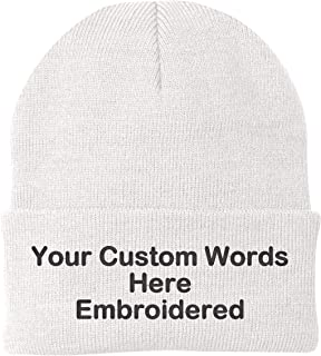 24934da1 Unameitcustom Customize Your Beanie Personalized with Your Own Text  Embroidered
