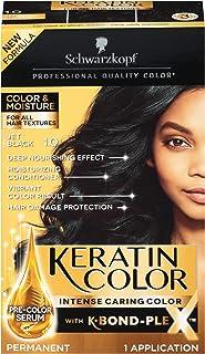 Sponsored Ad - Schwarzkopf Keratin Color, Color & Moisture Permanent Hair Color Cream, 1.0 Jet Black (Pack of 1)