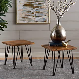 Christopher Knight Home Gerston Indoor Industrial Rustic Iron and Teak Finished Acacia Wood Side Table, Metal