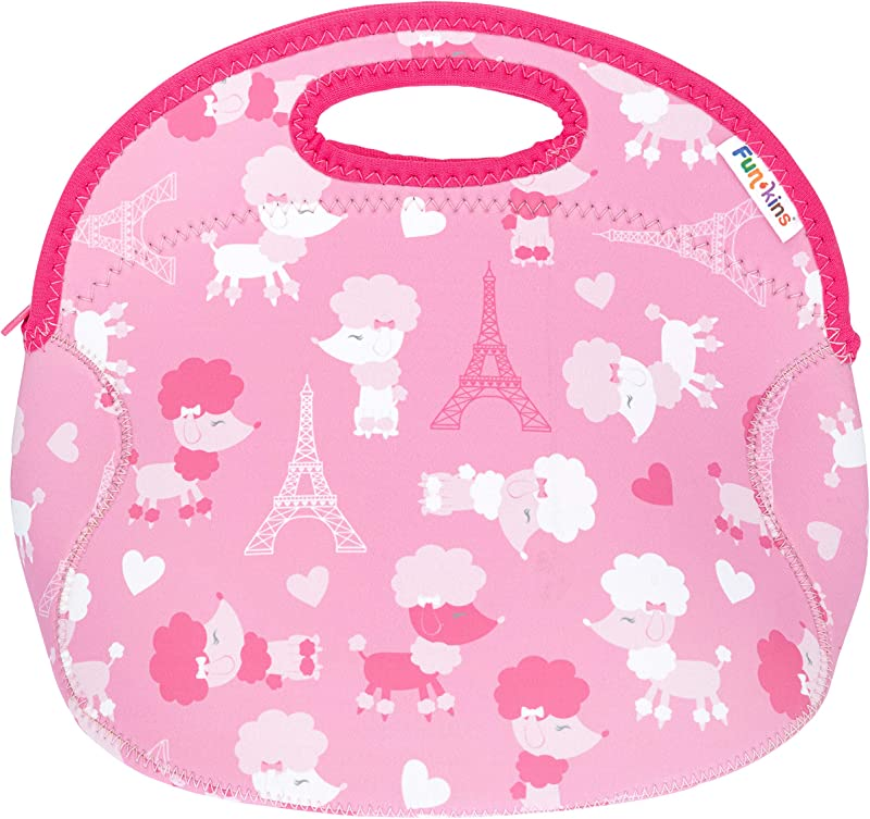 Funkins Fun Lunch Tote For Kids Insulated Lunch Bag Large Size With Interior Pocket And Name Tag Machine Washable Spacious Durable Easy To Pack And Clean Large Size French Poodles