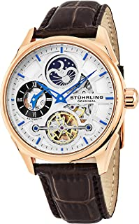 Stuhrling Original Skeleton Dress Analog Watch for Men, Automatic Mechanical Wristwatch, Gold Plated/Stainless Steel, Genuine Calfskin Leather Band