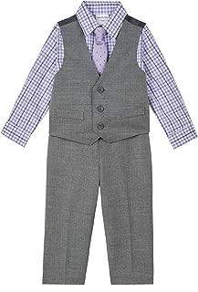 Toddler /& Boys Van Heusen $50 4pc Black Pin w// Stripes Vest Suit Size 3T 5