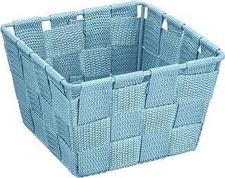Wenko 20912100 Adria Corbeille Mini pour Salle de Bain Carré Bleu Dimensions 14 x 14 x 9 cm