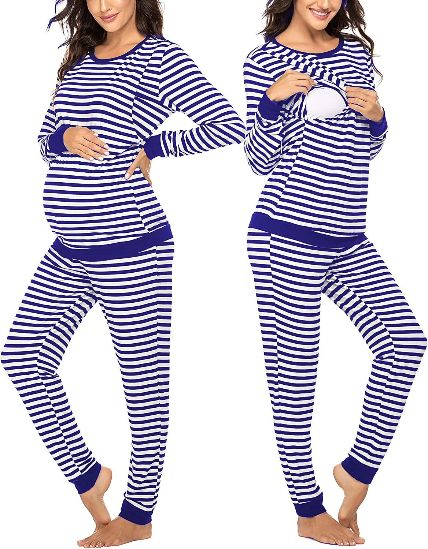 Ekouaer Maternity Nursing Thermal Underwear Set Popular product mart Striped L Knit
