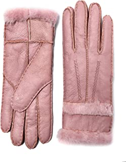 YISEVEN Women's Rugged Sheepskin Shearling Leather Gloves Fur Cuffs,5% coupon applied.,with coupon (some sizes/colors)