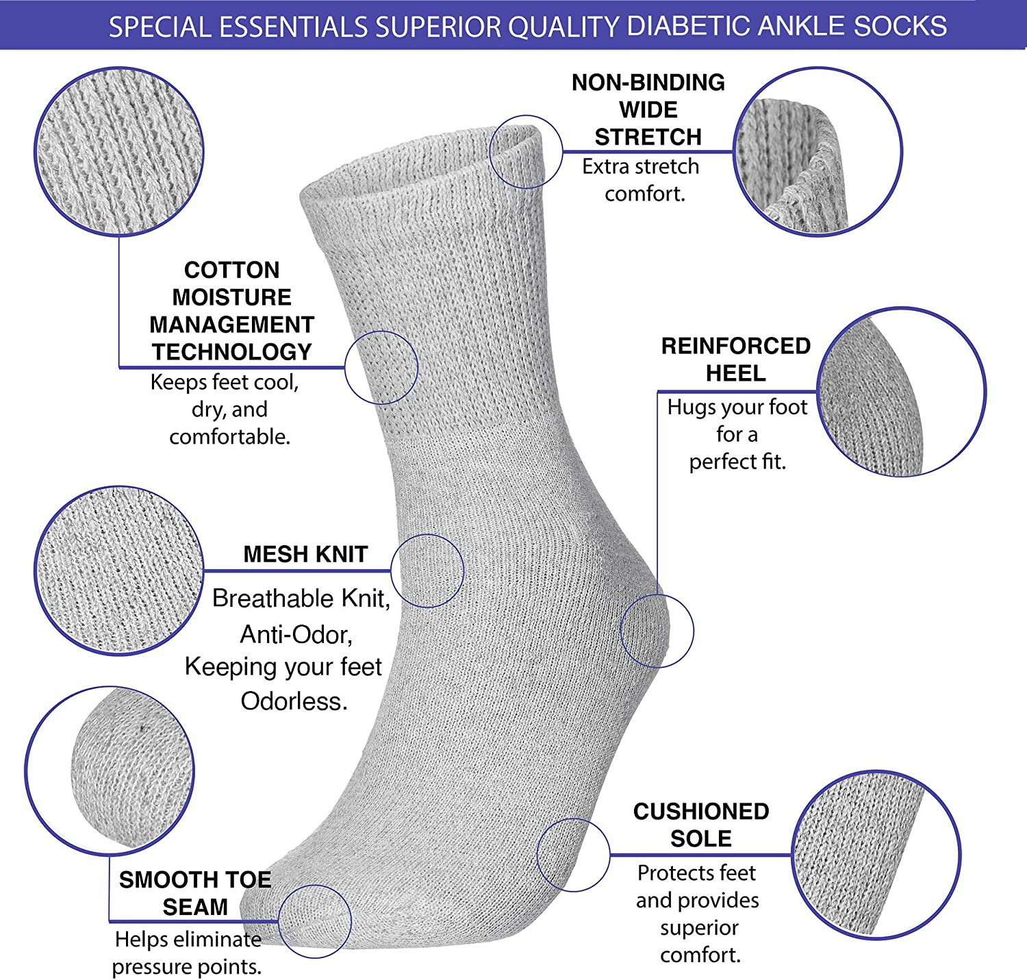 Special Essentials 6 Pairs Men's Cotton Diabetic Ankle Socks Black Grey White (White, 10-13): Health & Personal Care