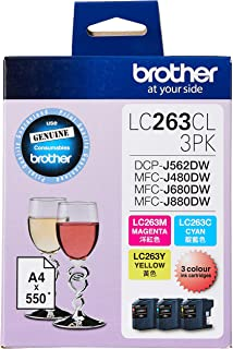 Brother LC263CL 3PK Original Ink Cartridge Compatible with DCP/MFC Series, 550 Pages, Cyan/Yellow/Magenta (Set of 3)