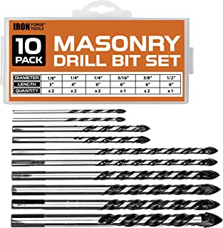 Masonry Drill Bit Set of 10 for Concrete, Ceramic Tile, Brick, Glass, Plastic, Wood & More - Chrome Plated with Carbide Tips