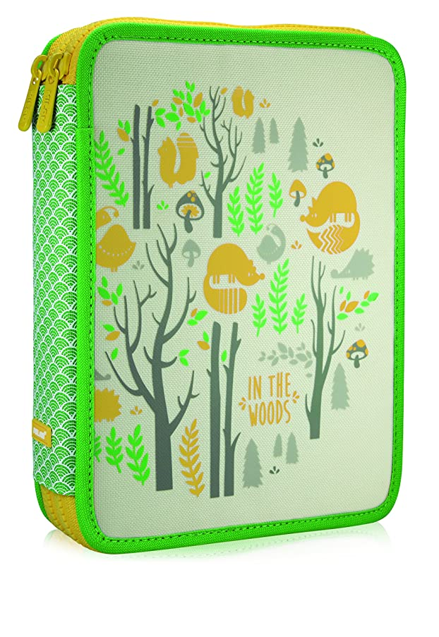 Milan In The Woods Pencil Case, 25 cm, 2.5 Litres, Green/Yellow