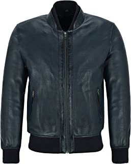 Blue Smith Ultra Handsome Men Perforated Real Leather Bomber Retro Style Jacket 4348