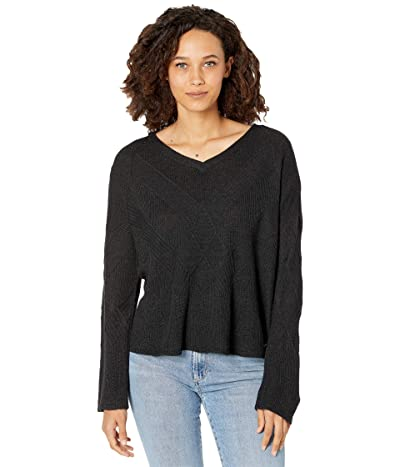 Smartwool Shadow Pine Cable V-Neck Sweater (Charcoal Heather) Women