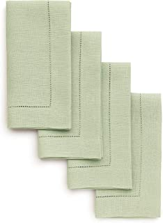 Solino Home Hemstitch Linen Napkins - 20 x 20 Inch, Sage Green Set of 4 European Flax Dinner Napkins - Machine Washable Classic Hemstitch - Natural Fabric, Handcrafted with Mitered Corner
