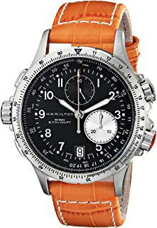 """Hamilton Men's H77612933 """"Khaki Field"""" Stainless Steel Chronograph Watch with Orange Leather Band"""