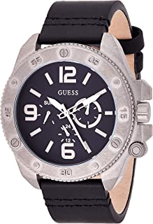 Guess Men's Quartz Watch, Analog Display and Leather Strap W0659G1