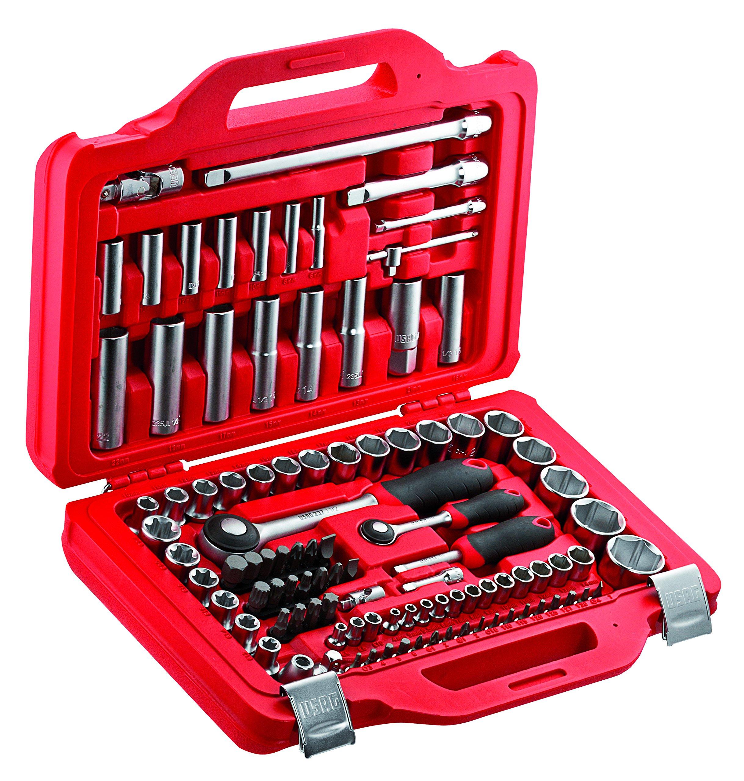USAG U06010011 - Pack de 100 piezas surtido de llaves de vaso hexagonales y puntas en caja modular: Amazon.es: Bricolaje y herramientas