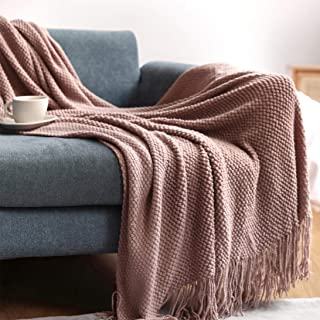OliveSleep Couverture en tricot douce et confortable pour canapé, chaise, lit, couverture décorative, rose, 130 x 200 cm