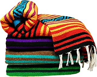 Spirit Quest Supplies Bodhi Blanket Mexican Style Blanket - Falsa Throw Blanket for Yoga, Picnics, Beach, Tapestry, Camping, More