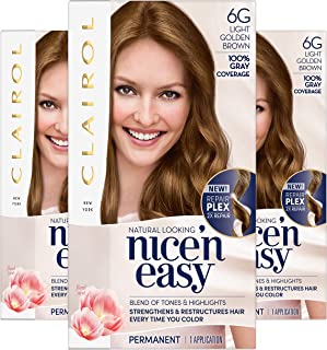 Clairol Nice'n Easy Permanent Hair Color, 6G Light Golden Brown, 3 Count