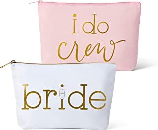 Canvas Makeup Bags for Bachelorette Parties, Weddings and Bridal Showers! (11 Piece Set, Pink - I Do Crew)