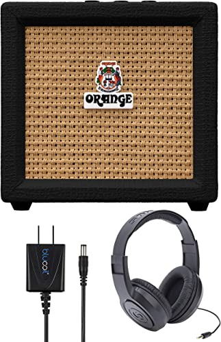 wholesale Orange Amps Crush Mini 3W new arrival Guitar Combo Amplifier high quality (Black) Bundle with Samson SR350 Over Ear Stereo Headphones, and Blucoil Slim 9V Power Supply AC Adapter sale