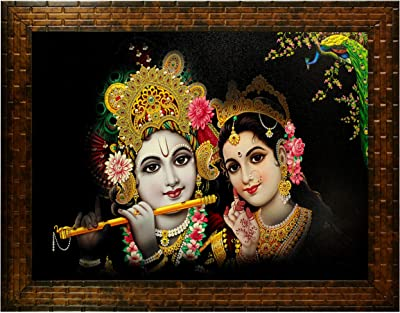 Indianara Radha Krishna Painting -Synthetic Wood, 27x30.5x1cm, Multicolour
