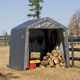 ShelterLogic 10' x 10' Shed-in-a-Box All Season Steel Metal Peak Roof Outdoor Storage Shed with Waterproof Cover and Heavy...