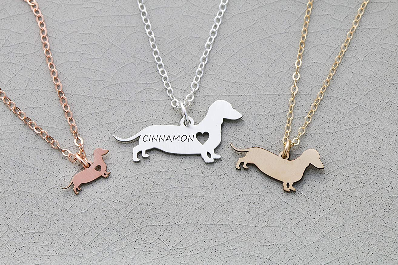 Miniature Dachshund Dog Necklace - IBD - Dotson - Personalize Name Date - Pendant Size Options - 935 Sterling Silver 14K Rose Gold Filled Charm - Fast 1 Day Production