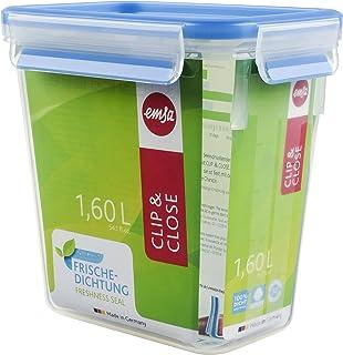 Emsa Clip & Close Conservador Hermético de Plástico Rectangular de 1,6 L, Transparente y azul