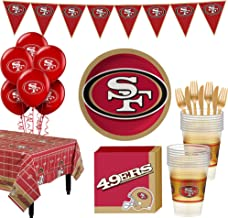 Party City San Francisco 49ers Super Party Supplies for 18 Guests, Include Plates, Napkins, Table Cover, and Balloons