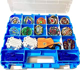 HOME4 Double Sided BPA Free Toy Display Storage Container Box - Compatible with Mini Toys, Small Dolls, Tools Beyblade - Heavy Duty Organizer Carrying Case - 34 Adjustable Compartments