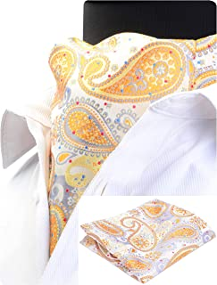 GUSLESON Men's Ascot Paisley Floral Jacquard Woven Gift Cravat Tie and Pocket Square Set