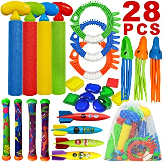 ToyerBee Diving Toys, Pool Swimming Toys with Water Gun, 28 PCS Underwater Toys with a Storage Bag for Kids &Teens & Adult...