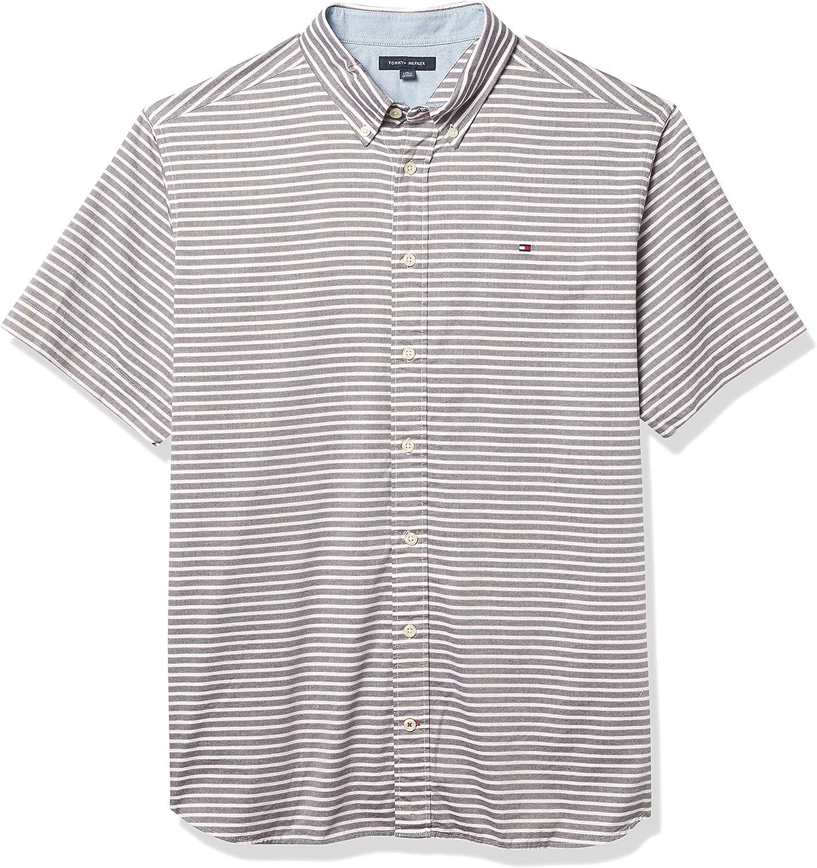 Tommy Hilfiger Men's Big & Tall Short Sleeve Button Down Shirt in Custom Fit, Sky Captain, XL