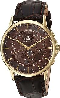 EDOX - Reloj Cronógrafo para Hombre de Cuarzo con Correa en Cuero 01602-37J-BRID