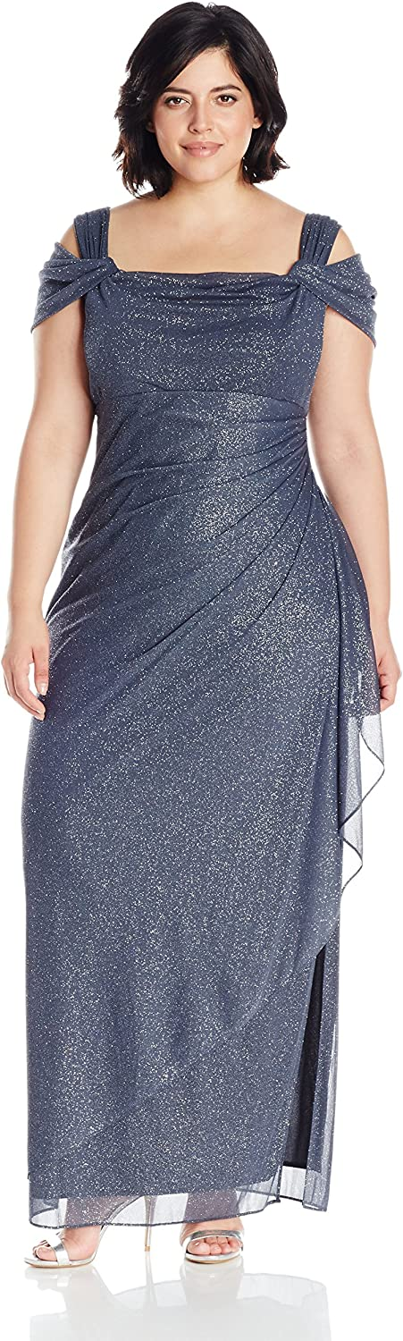 Alex Evenings Womens PlusSize PlusSize Long Cold Shoulder Dress with Side Ruched Skirt
