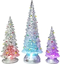 BANBERRY DESIGNS Christmas Tree LED - Set of 3 Acylic Xmas Trees with Painted Colorful Ornaments - Coloring Changing Table...