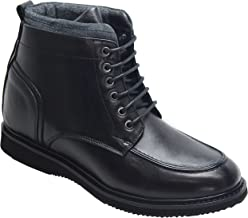 CALTO Men's Invisible Height Increasing Elevator Shoes - Black Leather Lace-up Boat Style Ankle Boots - 2.8 Inches Taller - T51011