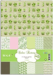 Toga PPK001 Birth Pack of 48 Printed Paper Sheets, Multi-Coloured, Paper, Végétal, 21 x 30,5 x 1 cm