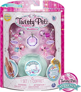 Twisty Petz, Series 2 Babies 4-Pack, Ponies and Puppies Collectible Bracelet and Case (Teal) for Kids