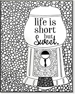 The Stupell Home Decor Collection Life is Short But Sweet Gumball Machine DIY Coloring Wall Plaque
