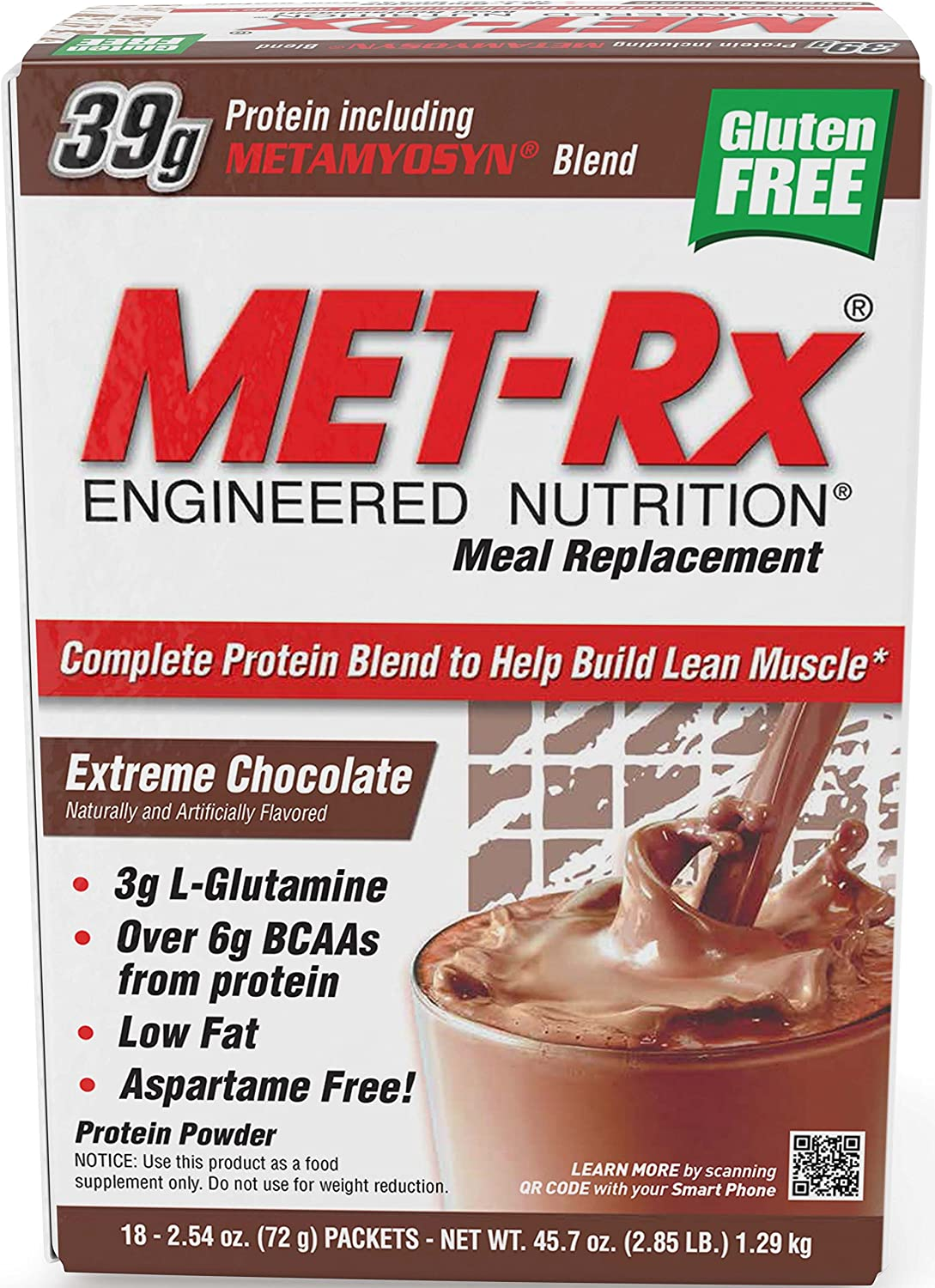 MET-Rx Original Meal Replacement Extreme Chocolate, 18 count (2.54 ounce packets)