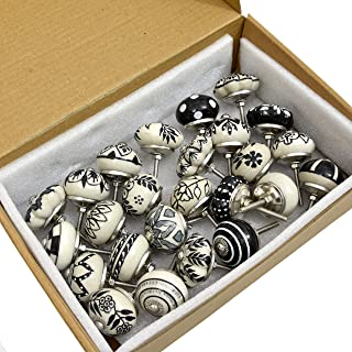 Ceramic Door Knob -Pack of 25 Pc - Handmade Indian -Cabinet Knobs with Brass- Blue Pottery -Flower Kitchen- Cupboard -Door...