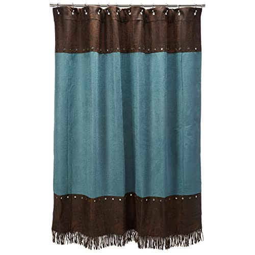 HiEnd Accents Cheyenne Western Shower Curtain Turquoise