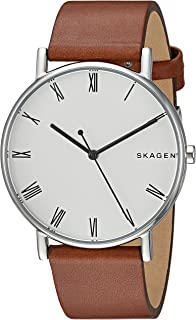 Skagen Signature Brown Stainless Steel & Leather Watch SKW6427